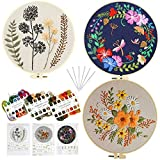 3 Sets Embroidery Kit for Beginners, DIY Needlepoint Kits with Embroidery Clothes with Floral Pattern, 3 Plastic Embroidery Hoops, Embroidery Starter Kit for Adults Kids
