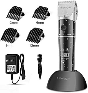 Hair Clippers for Men, ETEREAUTY Waterproof Professional Cordless Hair Trimmer Beard Trimmer Rechargeable Hair Cutting Kit with 4 Guide Combs, 2200mAh Battery, LED Display for Men Kids Barber Clippers