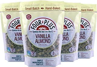 Kelly's Four Plus Vanilla Almond Granola, 12 oz, 4 count. Best Tasting All Natural Almond Granola Cereal, Healthy Crunchy Granola Breakfast Cereal. Oats, Honey Maple Syrup. The Best Granola for Yogurt