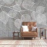 JINFANGBZ Tapete Wandbild 3D Fototapete Handgemalte graue Blätter Vliestapete Wandtapete Foto für Modernes Design der Fernseh Hintergrund Wand-Kunst-Deko 200cm x 150cm