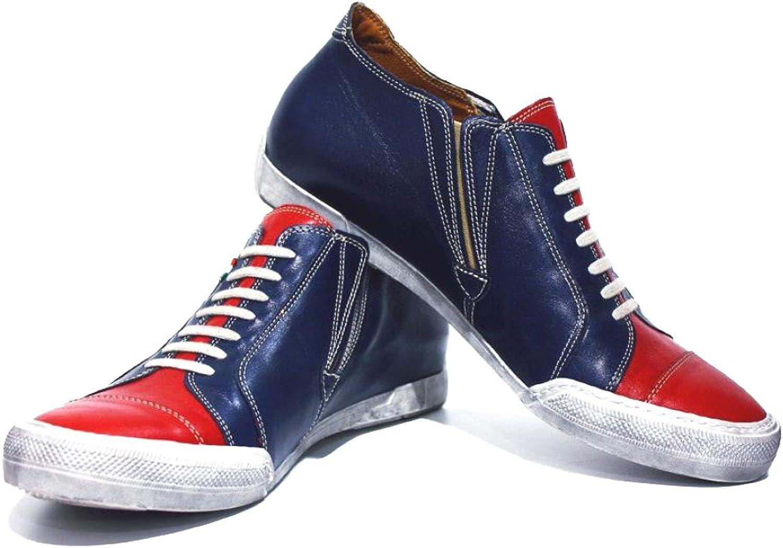 Modello Carpi - handgjord italiensk italiensk italiensk läderdräkt i marinens blå mode skor Casual skor - Cowhide Smooth Leather - Slip -On  sälja som heta kakor