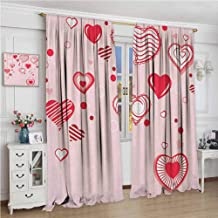 zojihouse Love Contour Hearts Hanging on Strings Romantic Anniversary Valentine`s Day Happy Print Modern Kids Curtain Rose Red Pink Room Darkening Wide Curtains W84xL96