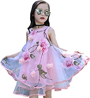COODIO Baby Girls Princess Dress Casual Organdy Flower Sleeveless Round Collar Summer Vast Dress