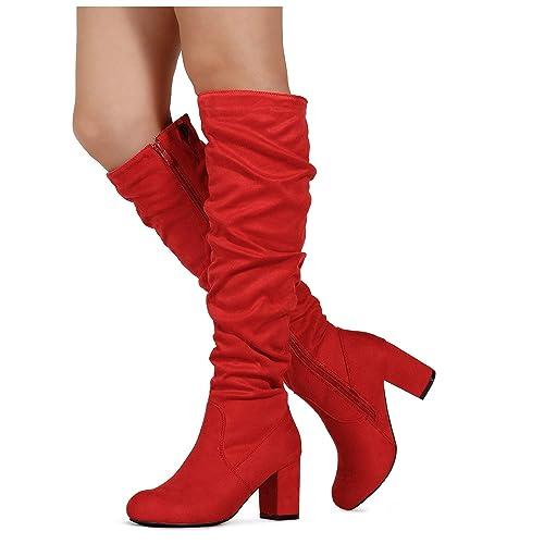 6710075cb RF ROOM OF FASHION Women's Slim to Medium Calf Chunky Heel Slouchy Knee  High Dress Boots