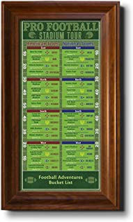 Football Stadiums Bucket List Tracker - Brown Frame - 13.5 inches x 23.5 inches - Pin Your Football Stadium Visits - Canvas Wall Art