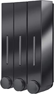 Perfk ABS Wall Mount Soap Dispenser Pump Bottle for Liquid Soap Shampoo Shower Gel Lotion - Triple Black