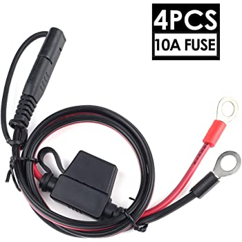 Dongge SAE Connector Motorcycle Battery Charger SAE Charging Cable SAE Quickly cuts The Plug to The 12V Ring Terminal Fuse Suitable for Charging Motorcycles Tractors Cars etc