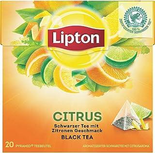 Lipton Schwarzer Tee für einen intensiven Teegenuss Zitrone 20 Pyramidenbeutel