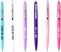 Inspirational Badass ballpoint six pen set for women, great office gifts for boss, cute school office supplies for her, funny birthday gifts