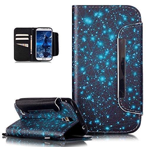 Kompatibel mit Galaxy S4 Hülle,Groß Magnetic Buckle Bunte Gemalt Malerei PU Lederhülle Taschen Handyhülle Flip Wallet Ständer Etui Karten Slot Schutzhülle für Galaxy S4 i9505 i9500,Blaue Galaxie