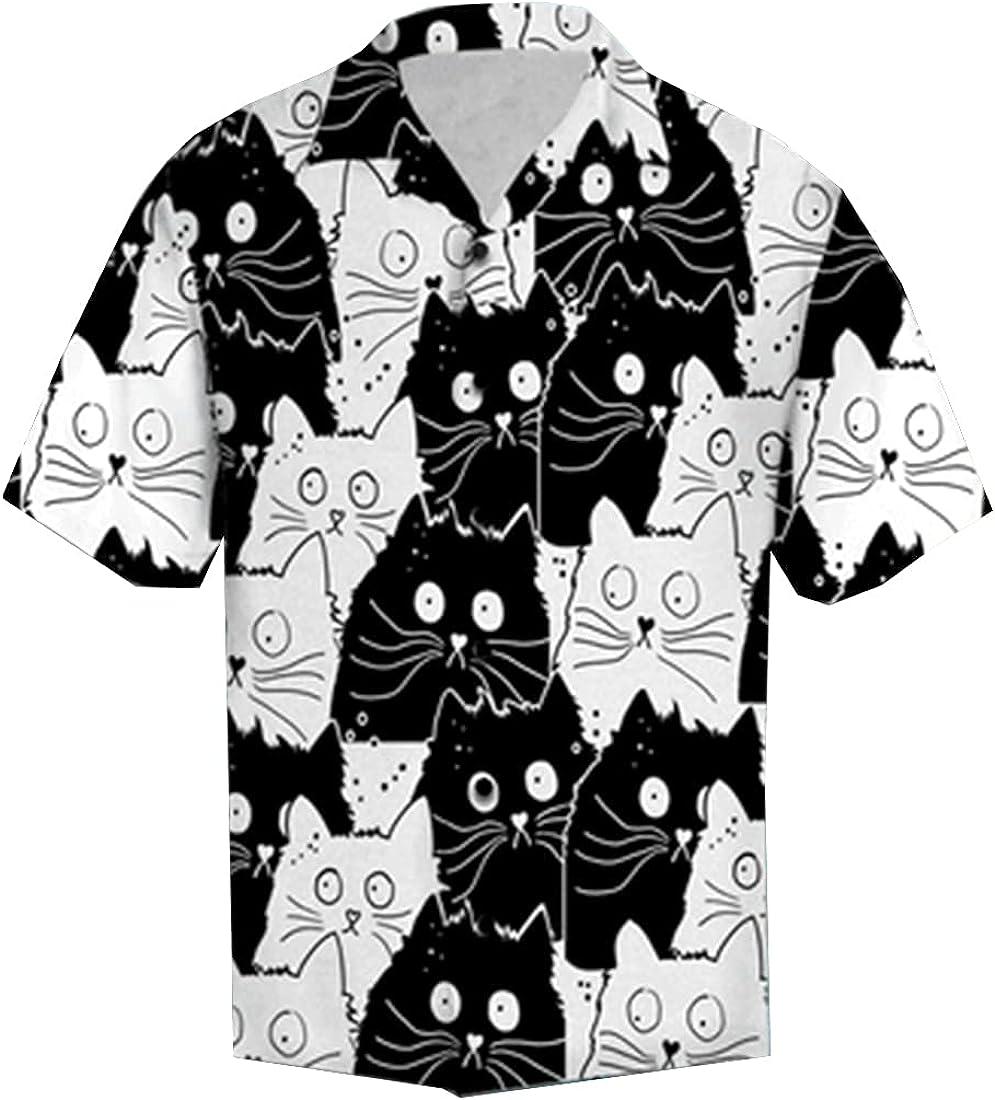 Tropical Cat Hawaiian Shirts for Men - Summer Cat Button Down Mens Hawaiian Shirts Short Sleeve Series 98