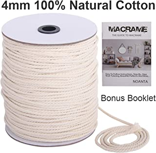 NOANTA Macrame Cord 4mm x 660Feet, 100% Natural Cotton Macrame Rope Cotton Cord, Perfect Macrame Supplies for Wall Hanging, Plant Hangers, Crafts, Knitting, Decorative Projects
