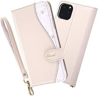レイ・アウト iPhone 11 Pro Max 手帳型レザーケース 花柄 ハンドストラップ付/ベージュ ケース RF-P22EVC1/BE