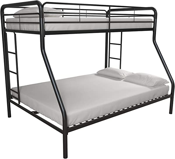 DHP Twin Over Full Bunk Bed With Metal Frame And Ladder Space Saving Design Black