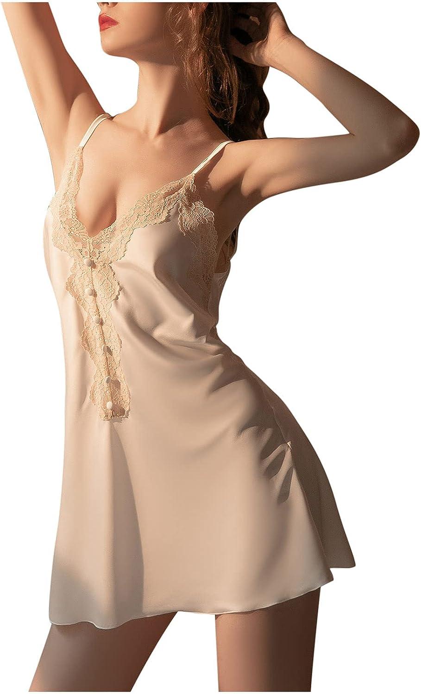 Women Nightdress Lace Satin Chemise Full Slips Sexy Teddy Lingerie Nightie Babydoll Sleepwear Nightgown Slip Dress