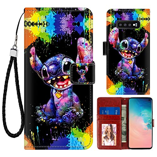 DISNEY COLLECTION Samsung Galaxy S10+ Case Wallet Case Stitch Scrawl Pattern [Stand Feature] Design Magnetic Closure Cover with Card Holder and Wrist Strap Protective Shell