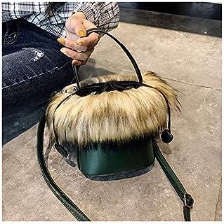Adebie - 2018 Vintage Women Fur Bucket Handbag Famous Brand Designer Luxury Small Crossbody Shoulder Bag Female Retro Lady Cute Tote Bag Green []