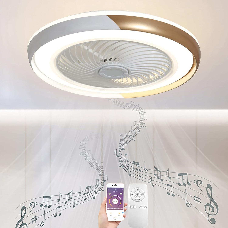 LED Plafon Ventilador Techo con Luz y Mando a Distancia Silencioso Regulable Dorado Smart Invisible Ventilador Lampara Techo Altavoz Bluetooth Música Iluminación APP Luces Dormitorio Comedor Blanco