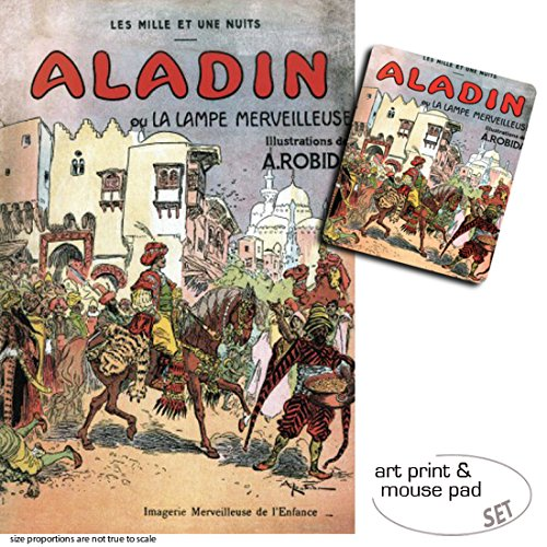 1art1 Albert Robida, Aladino Y La Lampara Maravillosa, 1001 Noches 1 Póster Impresión Artística (120x80 cm) + 1 Alfombrilla para Ratón (23x19 cm) Set Regalo