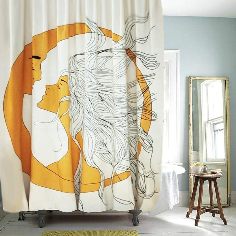 YoKii Zodiac Fabric Shower Curtain, Antique Apollo Celestial Sun and Moon Lover Fractal Faces Polyester Bath Curtain Set, 72-Inch Spa Hotel Heavy Weighted Bathroom Decor Curtains