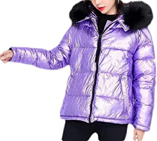 Macondoo Women Puffer Winter Faux Fur Hooded Zip-Front Down Parkas Coats Jacket