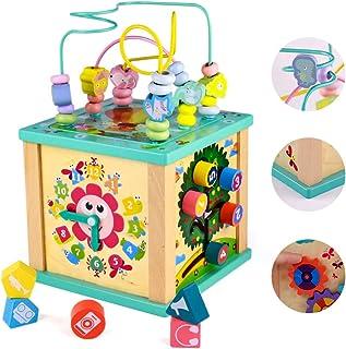 yoptote Juguetes Montessori Mesa Actividade Madera Cubo de Actividades Infantil Abaco Infantil Torre de Aprendizaje Juegos...