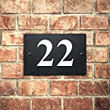 Personalised Natural Slate House Gate Sign Plaque Door Number Personalised Name UV Printed Hand Finished in UK (15X10cm Rectangle, Number)