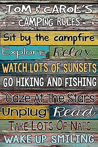 CWWAN Cartel de metal con texto en inglés 'Reglas de camping', diseño de hombre, cueva, café, bar, pub, 20 x 30 cm