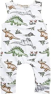 Mameluco para Unisex Bebe niños Verano 2018 Monos Impresion Dinosaurs Fiestas Fiestas Peleles Sin Manga Bodies bautiz Ropa para Bebe niñas de 6 Meses 12 Meses 18 Meses 24 Meses