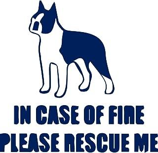 USC DECALS Fire Rescue Boston Terrier Standing (Navy Blue) (Set of 2) Premium Waterproof Vinyl Decal Stickers for Laptop Phone Accessory Helmet Car Window Bumper Mug Tuber Cup Door Wall Decoration