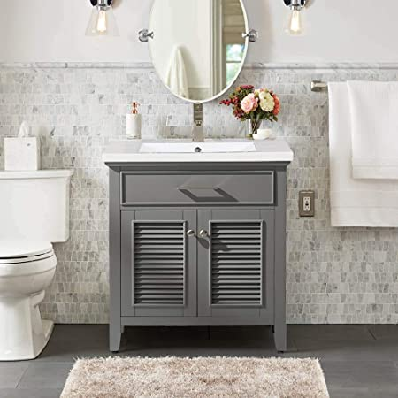 Luca Kitchen Bath Lc30dgp Austin 30 Bathroom Vanity Set In French Gray With Integrated Porcelain Top