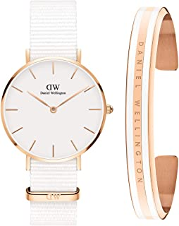 Daniel Wellington Unisex Petite Dover 32mm Watch and Classic Bracelet Gift Set, White