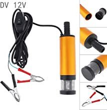 ePathChina Portable Aluminium Alloy Car Electric Submersible Pump Fuel Water Oil Barrel Pump with 2 Alligator Clips DC 12V 38MM