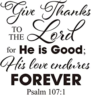 Garneck Wall Saying Christian Vinyl Bible Verse DIY Give Thanks To The Lord Art Sticker Home Wall Decor 1pc