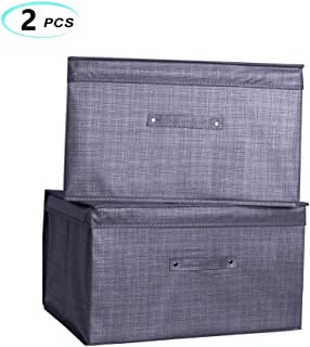 Large Storage Bins for Clothes [2-Pack], Storage Boxes with Lids Pretty for Organizers Bedroom Closet Living Room(19.7x15.7x11.7),Extra Large (Silver Grey)