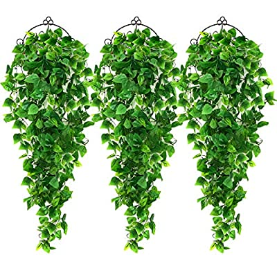 AGEOMET 3pcs Artificial Hanging Plants 3.6ft Fake Ivy Vine, Fake Hanging Plants Vine Plants Kitchen Plants for Wall House Room Indoor Outdoor Decoration