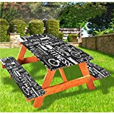 Mantel ajustable para mesa de picnic y banco, Active Life Cote Icons, mantel de borde elástico, 28 x 172 pulgadas, juego de 3 piezas para camping, comedor, al aire libre, parque, patio