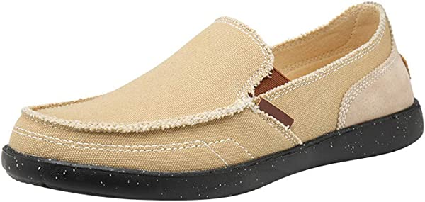 Mens Canvas Flats Lightweight Peas Shoes Slip On Loafer Casual Walking Shoes