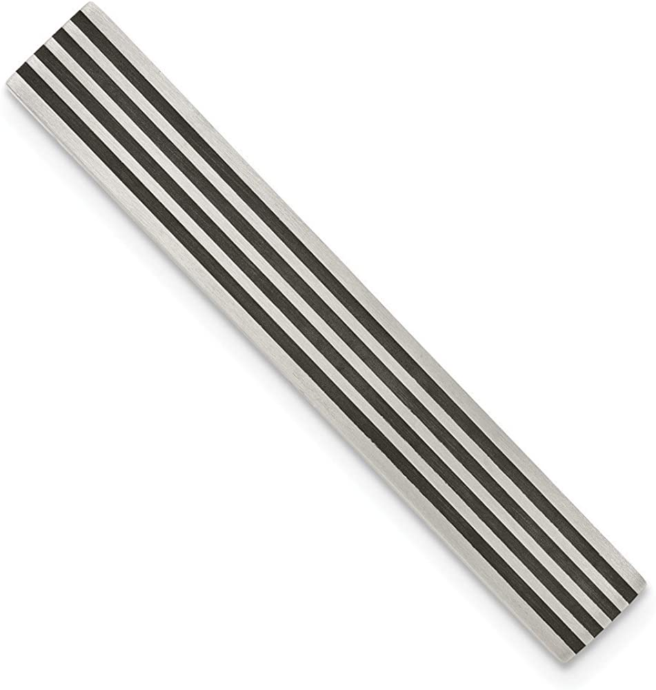 Solid Stainless Steel Men's Brushed Black Rubber Tie Bar