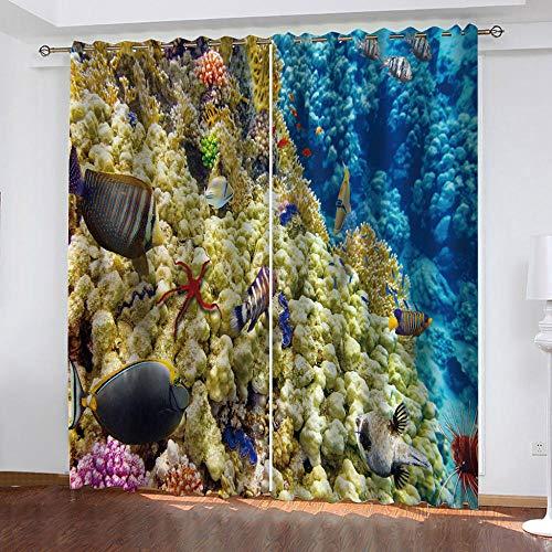BHOMLY - Cortinas Habitacion Juvenil - 3D Azul océano Coral 72.5x145cm Cortinas Opacas Termicas Aislantes Frio Y Calor - Cortinas Salon 2 Piezas Ojales - Hogar Decoración (An X Al)