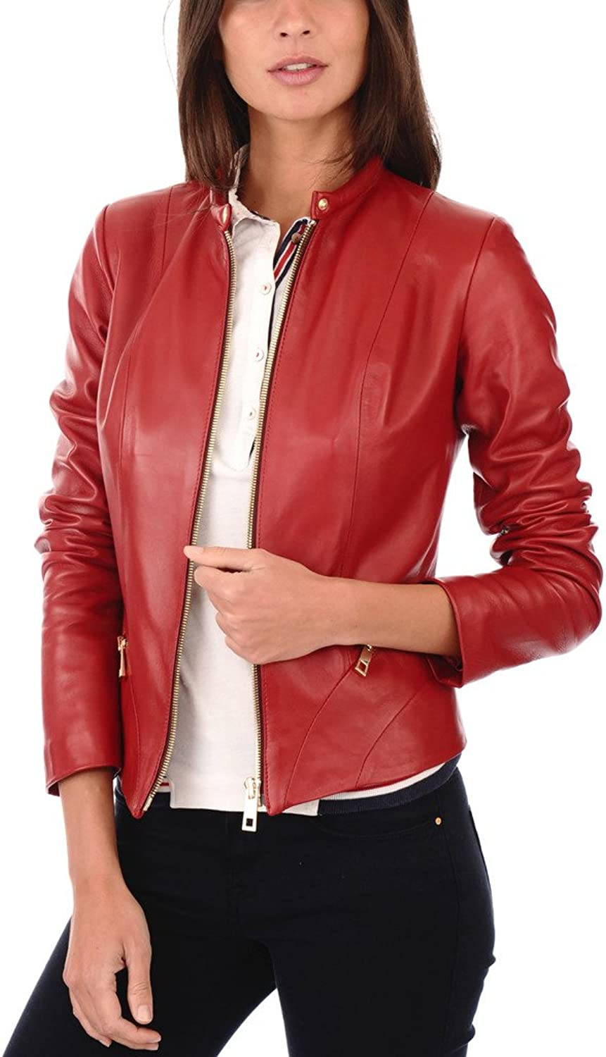 FS Lambskin Leather Women's Bomber Biker Jacket XSmall Red
