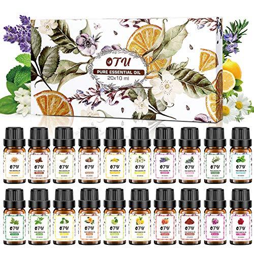 OTU Naturreine Ätherische Öle (20 Packs), 20x10 ml 100% Reines Therapeutisches Öle Set, Pure Duftöl Bio Aromatherapieöle Geschenkset für Diffusor Massage & DIY 0.34 Fl Oz