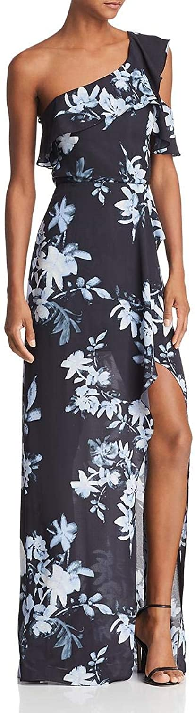 BCBG Max Azria Womens One One Shoulder Floral Print Evening Dress
