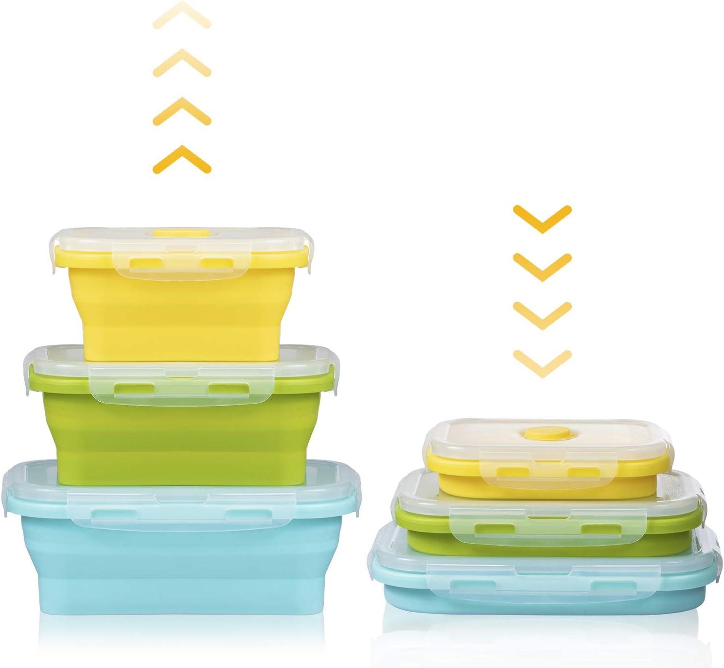 Czemo Recipientes de Silicona para Alimentos Fiambrera de Silicona Plegable Almacenamiento de Alimentos - Contenedores para Horno, Microondas, Congelador y Lavavajillas