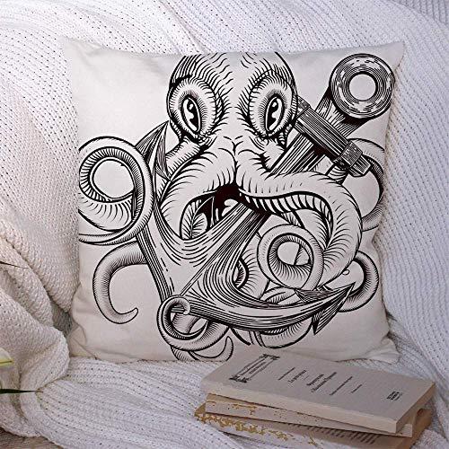 Cojines de tiro en Original Tattoo Octopus Sketch con barcos de fantasía Cthulhu Animals Abstract Wildlife Vintage Fundas de almohada Funda de cojín 45 X 45CM