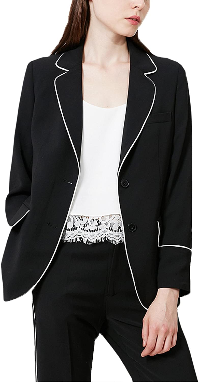 JYDress Women's Suit Pure Two Button Business 2 Pcs Blazer Coat Separate Pants