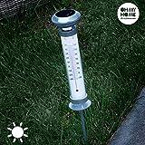 Solar-Thermometer, Gartenthermometer, wetterfest, Themperaturanzeige, Außenthermometer, leuchtet im Dunkeln, Kunststoff, ca. 59 x 9 cm