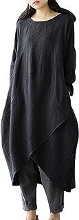 MAGIMODAC - Vestido largo de lino para mujer, para verano, túnica, vintage, holgado, para fiesta, playa, tallas 38-50