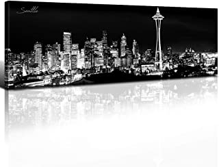sunfrower - Space Needle Skyline Wall Art Decor Seattle Canvas Prints Panoramic Cityscape Black and White Urban Landscape HD Picture Modern Artwork barthroom Decoration Stretched Framed 12