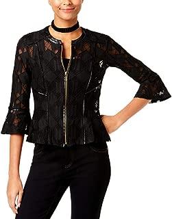 INC Womens Petites Lace Pattern Peplum Jacket